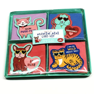 Dogs & Cats Valentine Mini Note Cards w/Envelopes Kit (30 Pack)