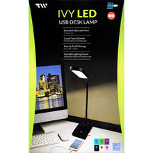 TW Lighting Ivy LED Light Desk Lamp with Built-In USB Charging Port (Black)