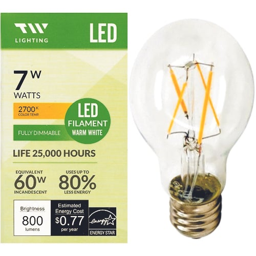 TW Lighting 7 Watt Dimmable LED Filament Light Bulb - Warm White (60W Equiv.)