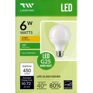 TW Lighting 6W LED Globe G25 Light Bulb Fully Dimmable Warm White (1 Pack)