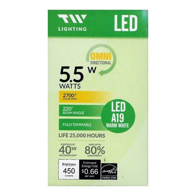 TW Lighting 5.5 Watt LED Fully Dimmable A19 Light Bulb - Warm White (1 Pack) 40W Equiv.