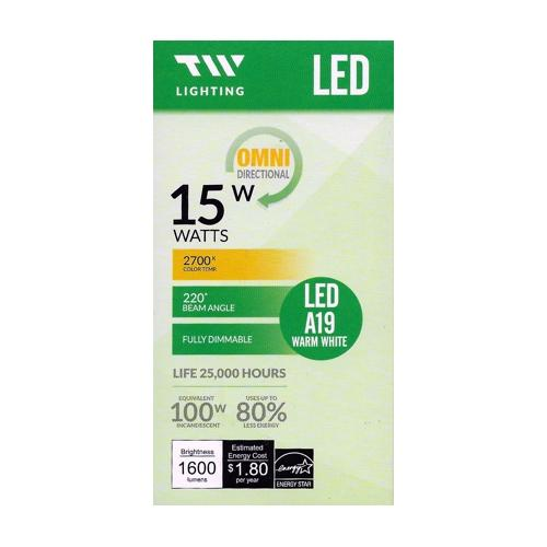 TW Lighting 15 Watt LED Fully Dimmable A19 Light Bulb - Warm White (1 Pack) 100W Equiv.