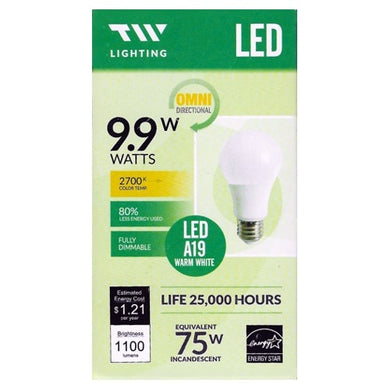 TW Lighting 9.9 Watt LED Fully Dimmable A19 Light Bulb - Warm White (1 Pack) 75W Equiv.