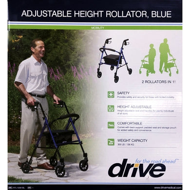 2-in-1 Adjustable Height Rollator Walker (Blue) RTL10261BL