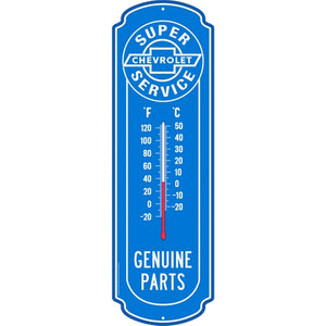 "Chevrolet Super Service Glow-in-the-Dark Thermometer Metal Sign (27"" x 8.5"") Blue/White"