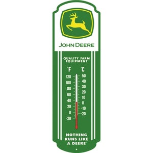 "John Deer Glow-in-the-Dark Thermometer Metal Sign (27"" x 8.5"") Green/White"