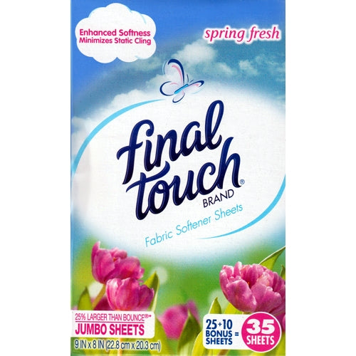Final Touch Fabric Softener Jumbo Sheets (35 Sheets) Spring Fresh