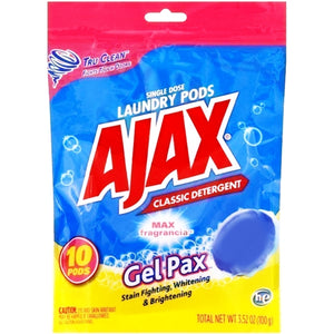 Ajax Single Dose Laundry Detergent Gel Pax Pods (10 Pack) Max Fragrancia