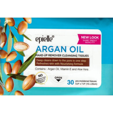 Argan Oil Make-up Remover Face Cleansing Wipes (30 Pre-moistened Tissues)