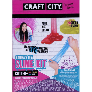 Craft City Karina's DIY Slime Bundle Kit - Make Your Own Slime (10-Piece Kit) Makes up to 12 Slime Creations