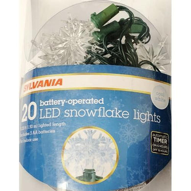 Snowflake String Lights 20 Cool White Battery Operated Snowflake LED String Light Set (6.33 ft.) with Free Local Delivery in Champaign & Vermilion County IL.