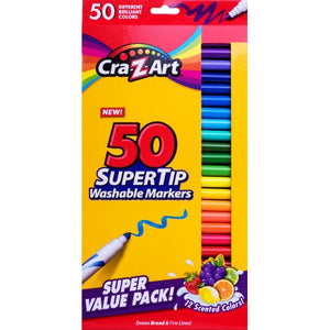 Cra-Z-Art Super Tip Washable Bright Colors Broad Line Markers (50 Pack) Includes 12 Scented Colors!