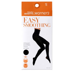 Blissful Benefits Easy Smoothing Opaque Shaping Pantyhose - Black (1 Pair) Seamless Waistband, Extra Support