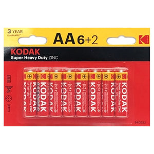 Kodak Super Heavy Duty Zinc AA Batteries (8 Pack)