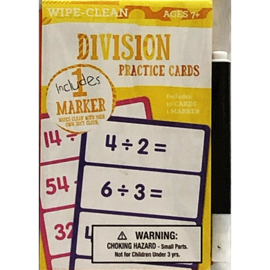 Math Division Practice Dry Erase Flash Cards (10 Cards & 1 Mini Marker)
