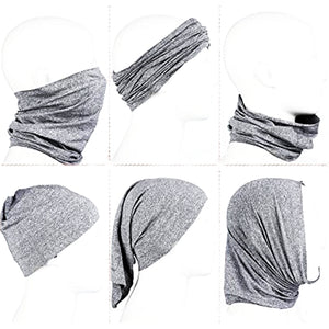 Cloth Neck Gaiter Face Covering Mask with 5 PM2.5 Safety Filters - Heather Gray (6-Piece Set)