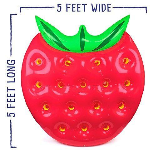 Inflatable Strawberry Pool Floatie - strawberry inflatable pool float, adult floatie