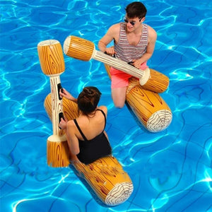 Inflatable Log Flume Joust Pool Set - Multiplayer - log flume joust toy inflatable pool float, adult floatie