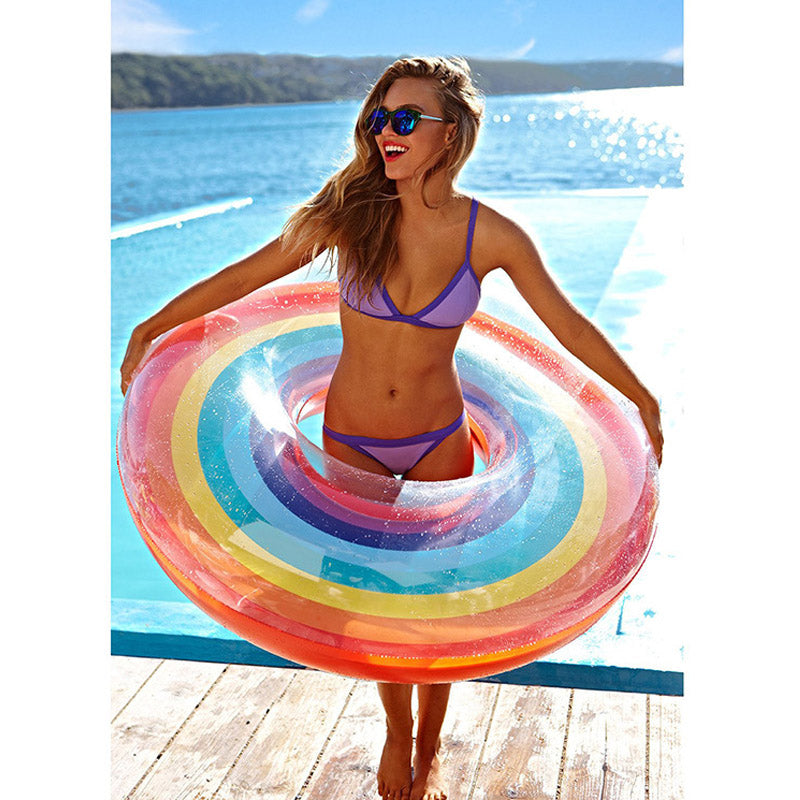 Inflatable Rainbow Ring Pool Floatie - inflatable rainbow ring pool float, adult floatie