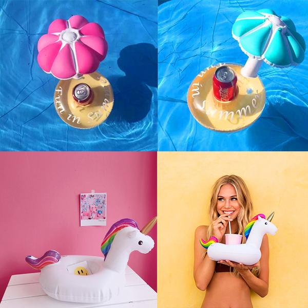Floating 4 Cup Flamingo Drink Holder - inflatable pink flamingo four cup floating drink holder