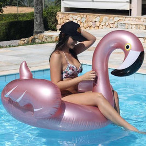 Inflatable Rose Gold Flamingo Pool Floatie - flamingo inflatable pool float, adult floatie rose gold