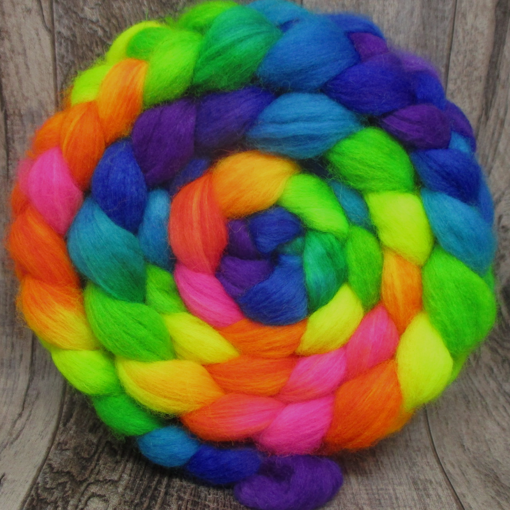 Radioactive Rainbow -- Superwash BFL/Nylon Fiber