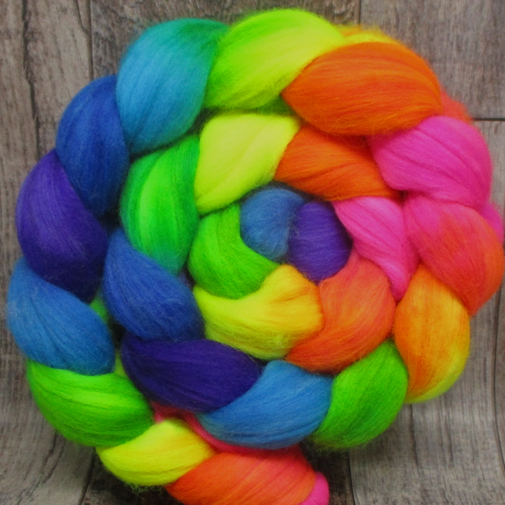 Radioactive Rainbow -- Superwash Merino/Nylon Fiber
