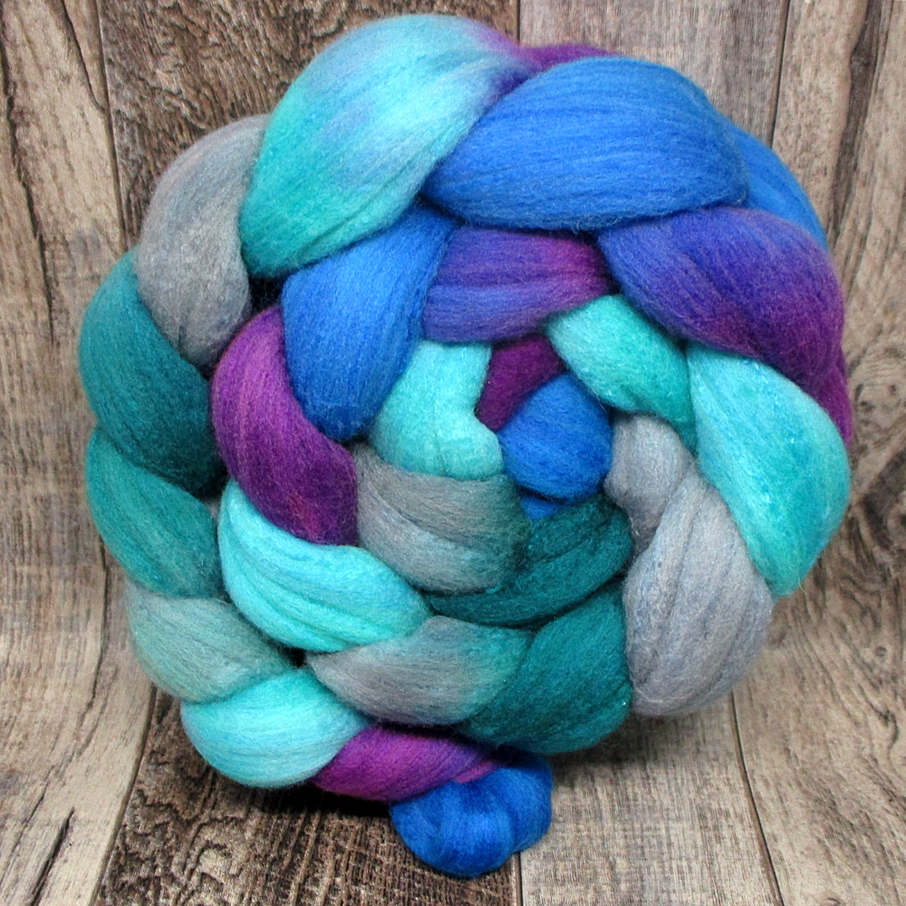 Eccentric Blueberry -- 75%  Rambouillet 25% Mulberry Silk 4oz