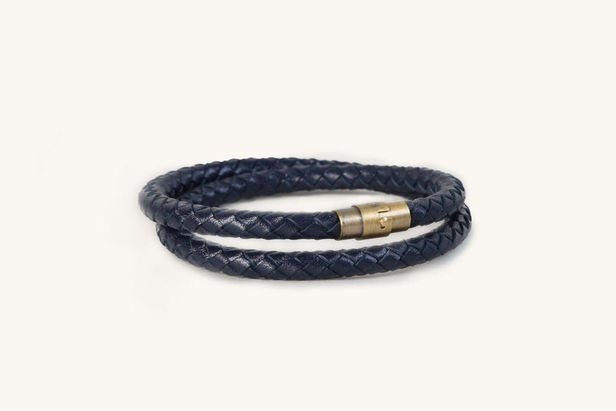 Double Blue Leather Bracelet