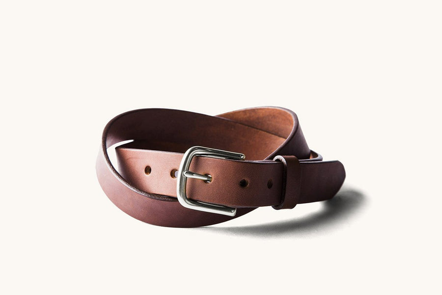 brown leather belt with stainless heel bar buckle