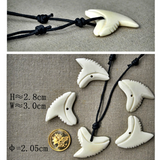 Handmade Bone Shark Teeth Pendant (4098284650550)