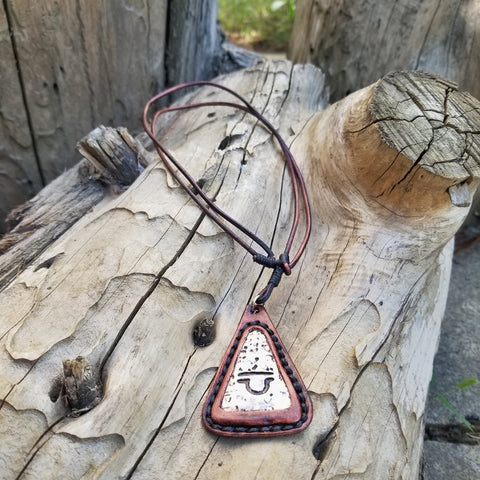 Boho Pewter and Leather Necklace (4098370502710)