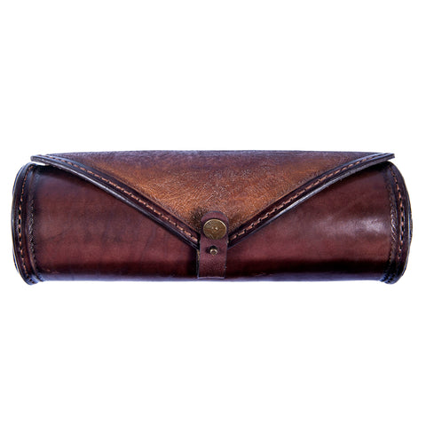 Handcafted Brown Vegetan Leather Front Fork Bag - Leather Motorcycle Bags - Brown Leather Tool Bag