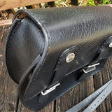 Black Leather Motorcycle Left Side Bag