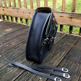 Handcrafted Black Leather Motorcycle Right Side Saddle Bag - Universal -Harley Davidson Swingarm Bag