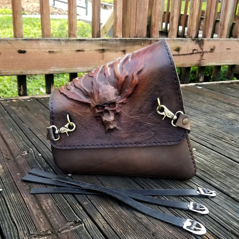 Handcrafted Brown Leather Motorcycle Right Side Saddle Bag - Leather Solo Swingarm Bag with Skull Design