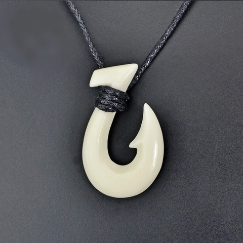 Bone Fish Hook Pendant New Zealand Maori Necklace (4098301657142)