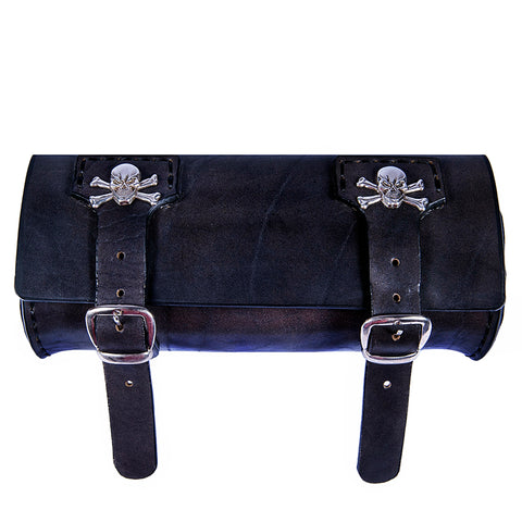 Handcafted Black Vegetan Leather Front Fork Bag - Leather Motorcycle Bags - Black Leather Tool Bag