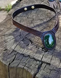 Boho Leather Choker with Green Agate Stone Setting (2265120538678)
