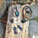 Boho Leather Earring with Green Agate Stone Setting (2265120636982)