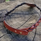 Boho Leather Choker with Onyx Setting (2265120833590)