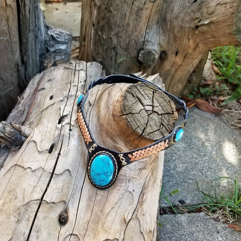 Boho Leather Choker with Turquoise Stone setting (2265121292342)