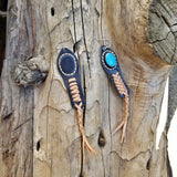 Boho Leather Earring with Turquoise Stone setting (2265121423414)