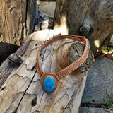 Boho Leather Choker with Turquoise Stone setting (2265121849398)