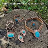 Boho Leather Earring with Turquoise Stone Setting (2265122046006)