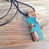 Unisex Fashionable Resin Necklace With Olive Wood Inlay, Faux Leather Chain (4098211119158)