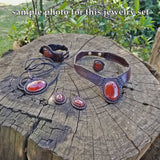 Boho Leather Earring with Red Agate Stone (2265122242614)