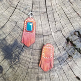 Boho Leather Earring with Jade Setting (2265118769206)