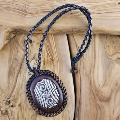 Boho Pewter and Leather Necklace (4095752503350)