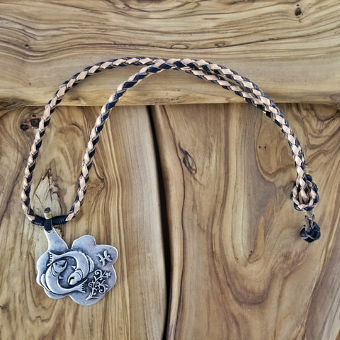 Boho Pewter and Leather Necklace (4095784550454)